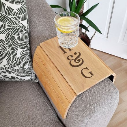 Personalised Wooden Sofa Tray - Initials